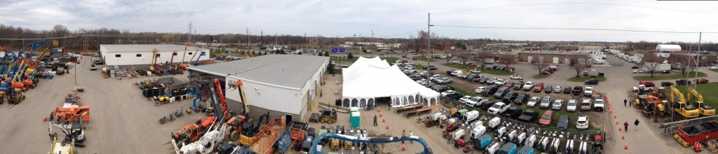 Panoramic Picture of the Rochester NY Equipemnt Rental Open House for the Duke Company