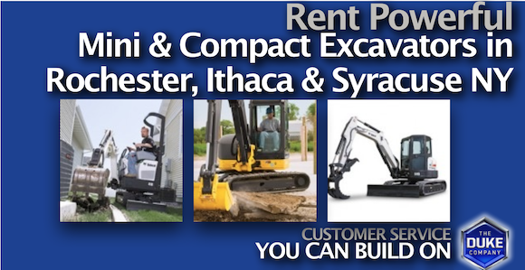 Rent a Powerful Mini Excavator in Rochester and Syracuse NY