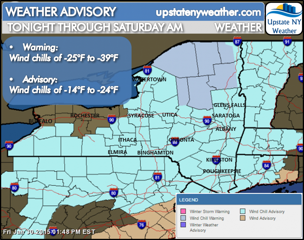 Upstate NY Weather - Bitter Cold Air Mass with Dangerous Wind Chills to Settle into Region Overnight into Early Saturday