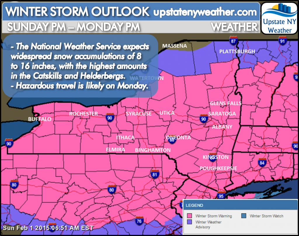Upstate NY Weather 'Becoming Mainly Cloudy and Cold As Winter Storm Organizes with Snow Developing Into Tonight'